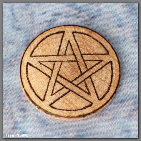 Small Wooden Nickel Pentagram Pentacle for Wicca Pagan Use Blessed Be Woodburned by ArtistTreeCurios at Etsy.