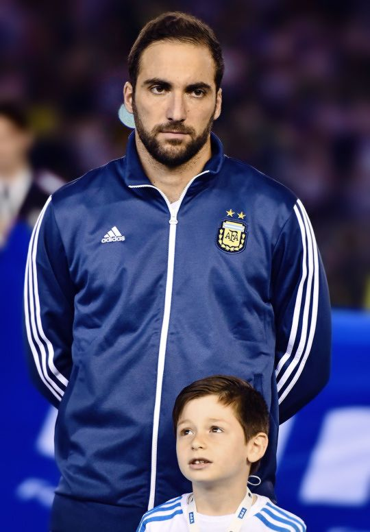 Gonzalo Higuain looks on prior a match between Argentina and Brazil as part of FIFA 2018 World Cup Qualifiers at Monumental Antonio Vespucio Liberti Stadium on November 13, 2015 in Buenos Aires