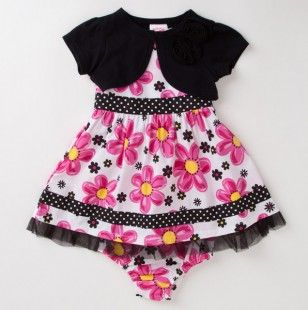 Toddler Girls Two Piece Spring Flowers Dress with Knit Shrug.  Especially for my Maggie Moo!