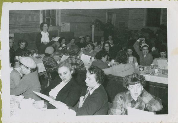 1952 Curling Banquet - pointy lady Joyce Robinson, ... | saskhistoryonline.ca