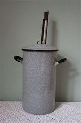 emaille weckketel Frans grijs gewolkt met thermometer: Emaille: