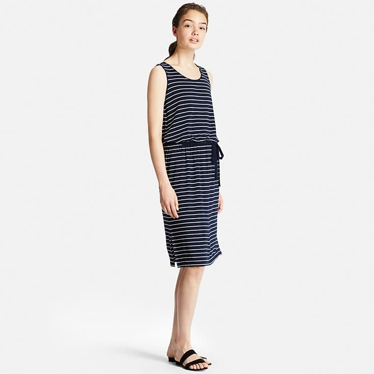 WOMEN VISCOSE JERSEY PRINTED SLEEVELESS DRESS | UNIQLO
