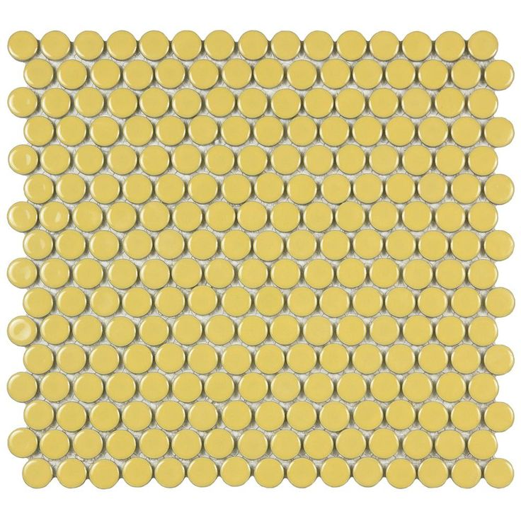 Merola Tile Hudson Penny Round Vintage Yellow 12 in. x 12-5/8 in. x 5 mm Porcelain Mosaic Tile (10.2 sq. ft. / case)