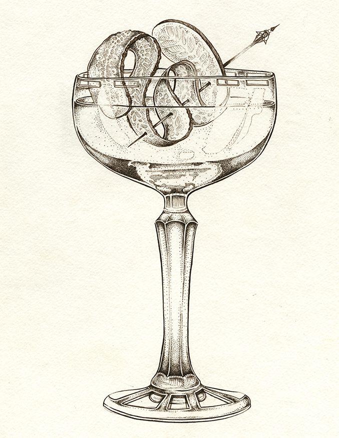"Cucumber Cocktail ""Q-COCO"" Art by: Ellie Lukova  Ink drawing of a cocktail glass and fruit garnish www.ellielukova.com https://www.facebook.com/ellie.lukova/"