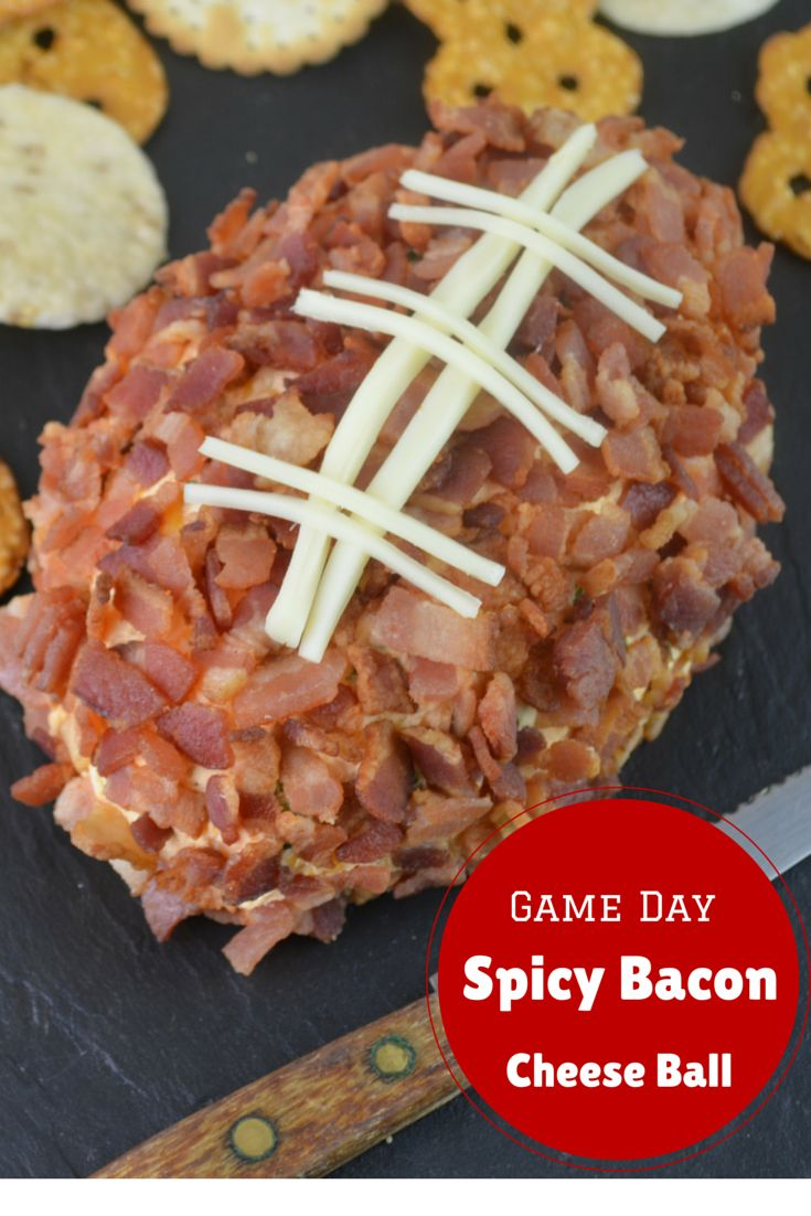The only way you can make this cheese ball made with Frank's RedHot Sauce even better Football food is is to cover it in #bacon so yeah, we did that. #GameDayFood