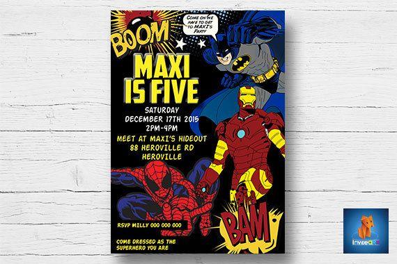 Superhero Invitation, Printable Batman, Spiderman, Ironman Party Invitation, Superhero Invitation, Printable DIY, Digital, Print at Home, by InviteART on Etsy