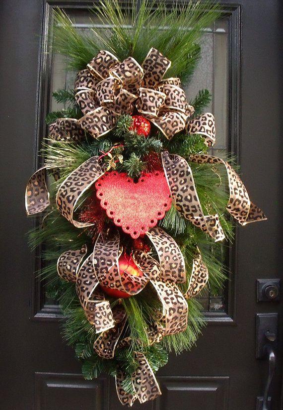 Valentine Wreath - Valentines Swag - Valentine Heart Swag - Leopard Valentines Wreath Dress your door with this flirty leopard vertical