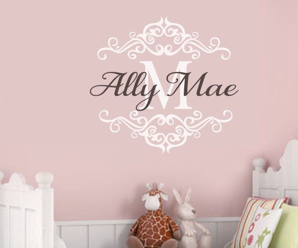 Fancy monogram personalized custom name princess border nursery baby room vinyl wall lettering decal large size options 39 colors