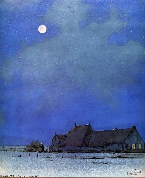 windypoplarsroom:    Anton Pieck. Beautiful goodnight moon  ( i love the added structure/dwelling to the landscapes with the moon in the sky).