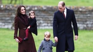 The Duke and Duchess of Cambridge, Prince George and Princess Charlotte attending the morning Christmas Day service