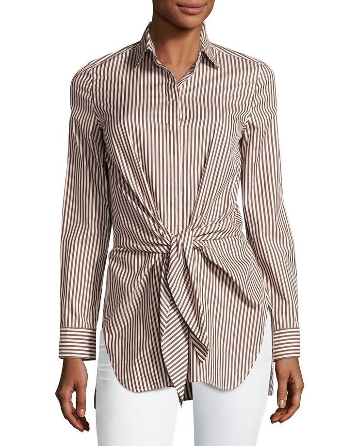 3.1 Phillip Lim Long-Sleeve Striped Tie-Front Top