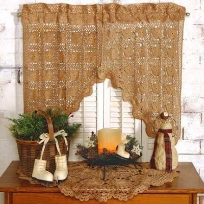 Primitive Tea Stained Lace Curtains Amazing Ideas