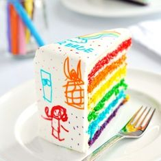 rainbow cake with white fondant so your kids can draw on it with edible marker. looks like fun!