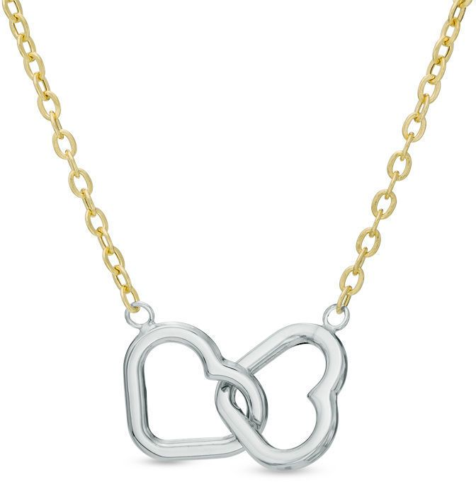 """Zales Interlocking Double Heart Necklace in 10K Two-Tone Gold - 17"""""""