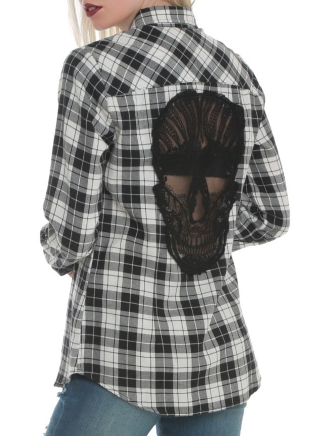Black & white plaid button-front woven shirt with sheer black crochet skull panel on back.  SIZE XXL