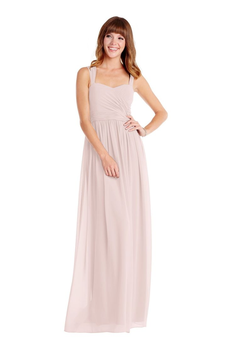 Donna Morgan 'Bailey Dress' in Palest Pink. This gray gown features a pleated floor-length skirt in stunning chiffon. This darling long style features wide straps to provide extra support, a sweetheart neckline, and ruched bodice. Discover more bridesmaid dresses to rent at vowtobechic.com