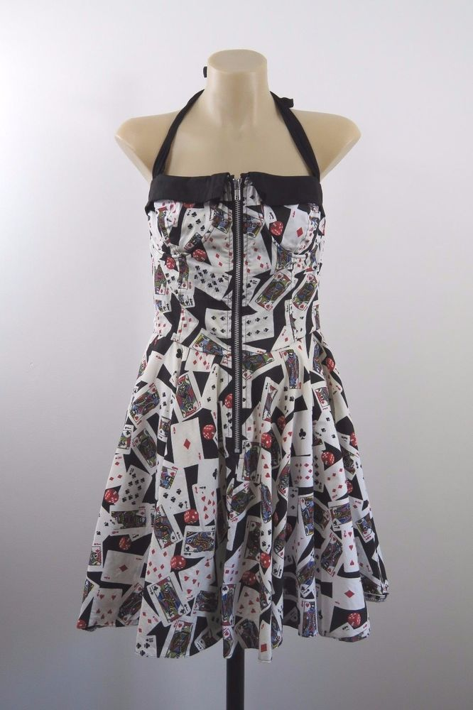 Size M 12 Hell Bunny Dress Vixen Casino Card Swing Pinup Vintage Skull Style #HellBunny #TeaDress #Casual