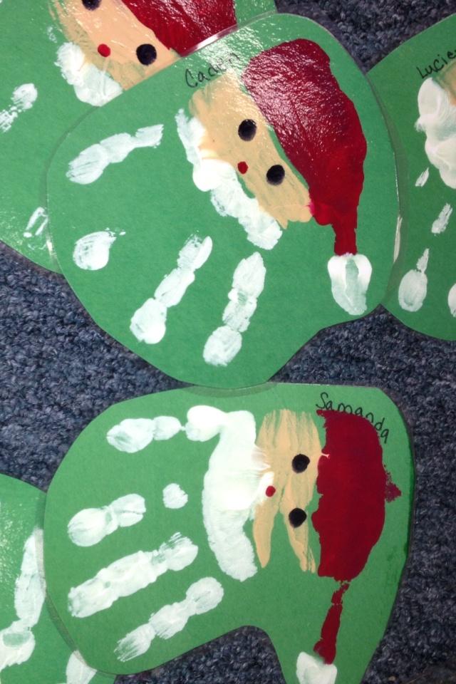 Santa handprint ornament for school