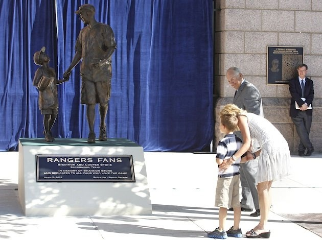 Rangers unveil Shannon and Cooper Stone statue.  Shannon Stone died after trying to catch a ball at a Rangers game for his son.  This statue is in their honor.  Classy move Rangers, really good job.