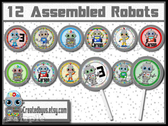 Robot Cupcake Toppers Robot birthday Decorations Custom