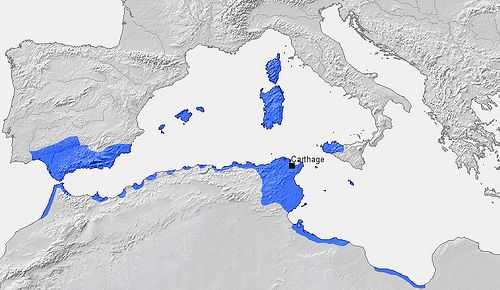 4 Carthage Map, at the time of their empire. The Romans arrived to Iberian Peninsula after the Punic wars -    Wikipedia  The Punic Wars were a series of three wars fought between Rome and Carthage from 264 BC to 146 BC. At the time, they were probably t...