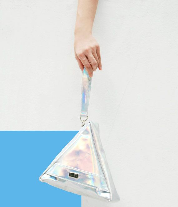 Hologram Triangle clutch by SAPaccessories on Etsy