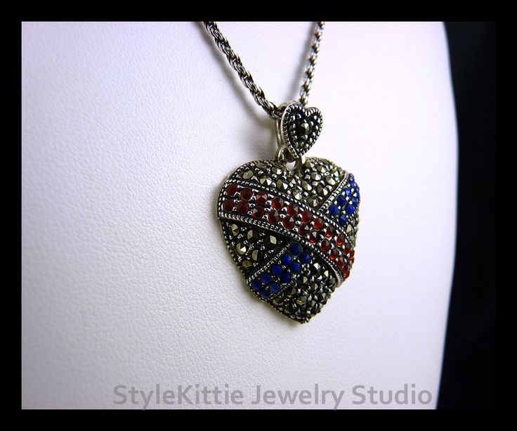 """Vintage 925 Sterling Silver Marcasite Heart Pendant with Lapis and Garnet on 24"""" Italian 925 Sterling Silver Rope Chain by StyleKittieJewelry on Etsy"""