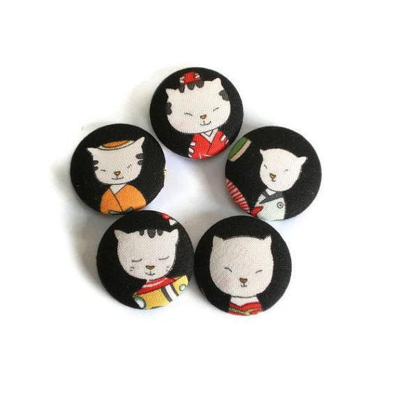 Fabric Covered Buttons Cats Handmade Buttons by MissTreeCreations, $7.70