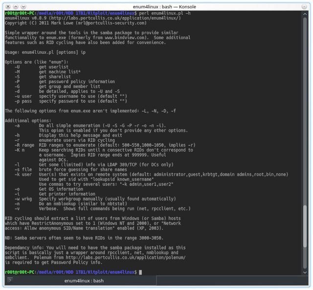 enum4linux - Tool for Enumerating Information from Windows and Samba Systems