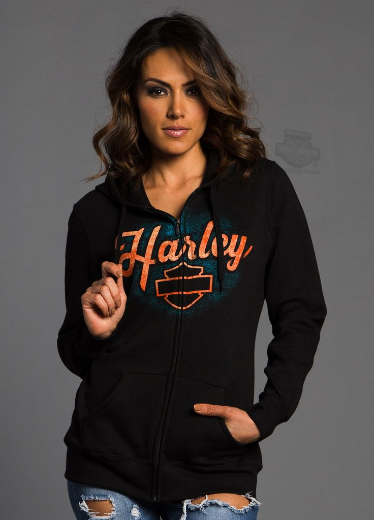 Harley-Davidson® | 5F23-HC2S | Harley-Davidson® Womens Ultimate Throttle B&S Full Zip Black Long Sleeve Hoodie