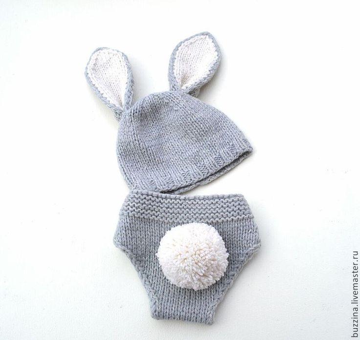 Купить Костюм для фотосессии Зайчик, шапочка + трусики на памперс - шапка с ушками, шапочка детская
