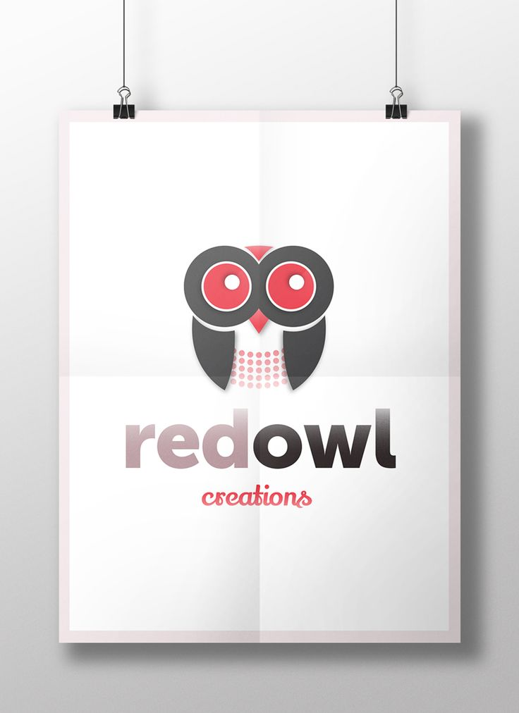Logo mockup on large poster - Red Owl Creations logo. The design by Pixelution!