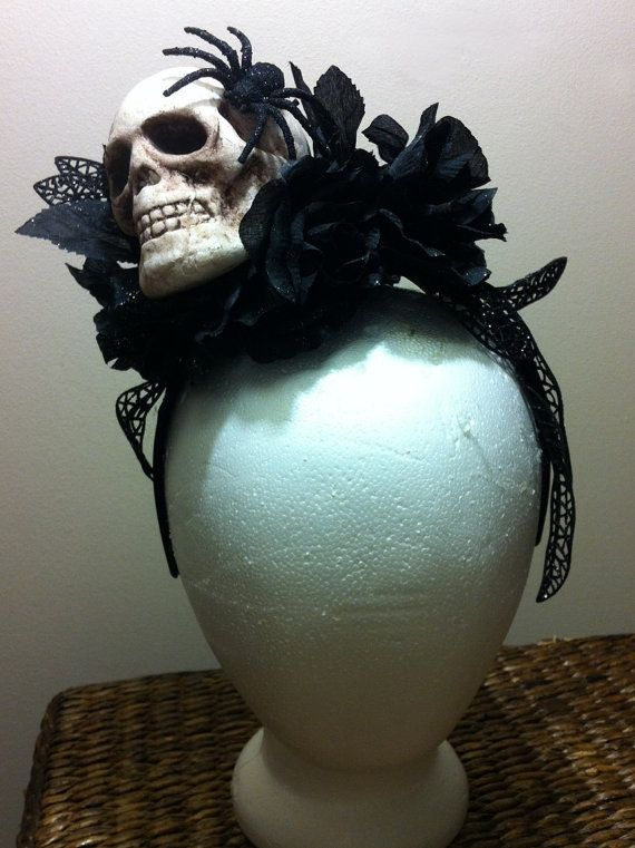 Skull and Black Roses Halloween Headpiece by christinafrancesca, $38.00