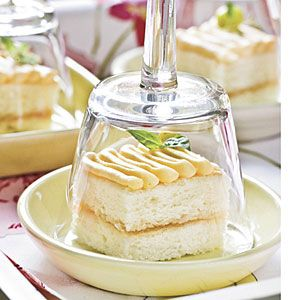 Vanilla Petits Fours-- with an outdoor party I like the idea of covering individual petits fours with glass that guests can then fill with (spiked) fruit punch