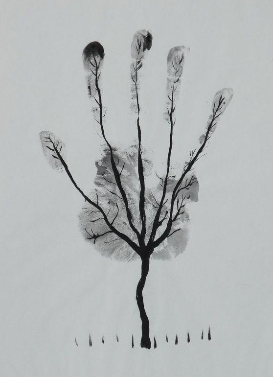 """Saatchi Arte Artista: Ahmed Al Safi; Pluma y tinta de dibujo """"Árbol de la mano del hombre!"""""""