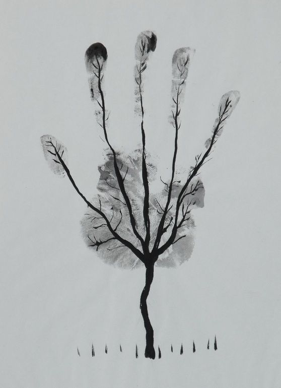 """Man's Hand Tree!"" - art by Ahmed Al Safi, via Saatchi Online;  Pen and Ink on Paper;  12.2"" x 7.9"""