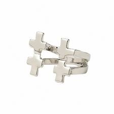 Ladies Silver Double Cross Ring | Chici Fashion Jewellery