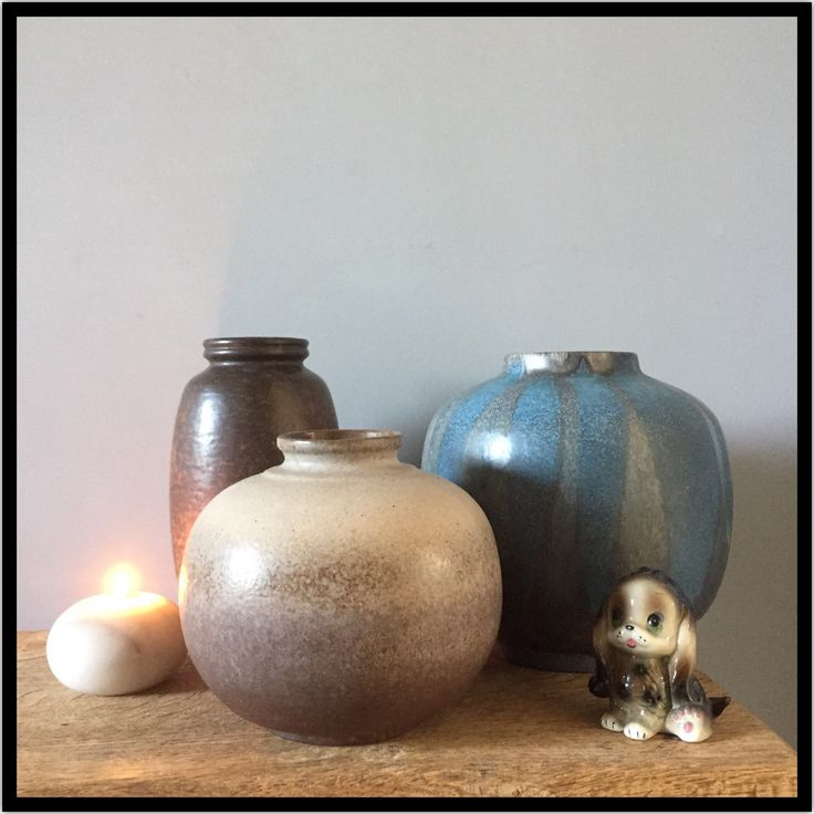Nice composition of german pottery! Brown and blue toned vintage vases make a unique set of midcentury home decor. Just makes me happy when I pass by and take a glance at this setting in my hallway - by ChrisVintageStyle