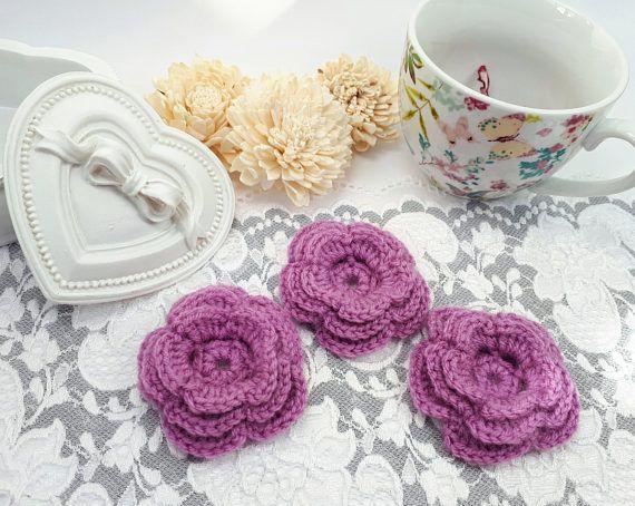 3 purple acrylic flowers crochet flowers purple applique by Rocreanique on Etsy
