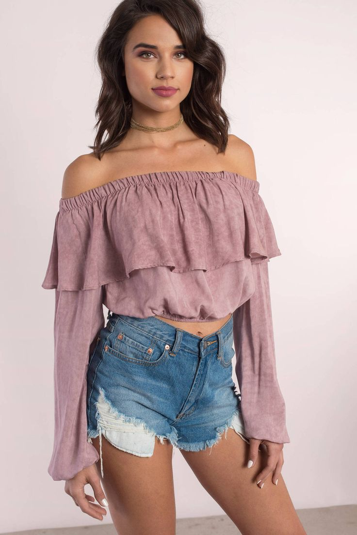 """Search """"Emerie Mauve Tiered Off Shoulder Top"""" on Tobi.com! elastic cold shoulder strapless long peasant sleeves gathered sleeves tiered #ShopTobi #fashion shop buy cheap inexpensive ideas chic fashion style fashionable stylish comfy simple chic essential capsule Basic outfit simple easy trendy ideas for women teens cute college fall winter summer spring outfit outfits travel packing essentials mexico tropical beach preppy disney florida island for teens women casual european"""