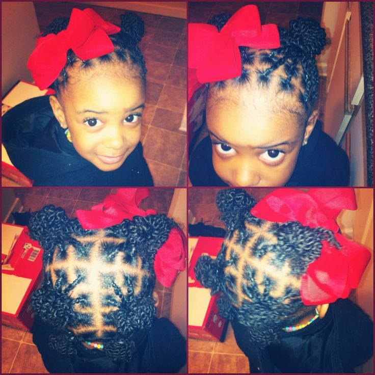 Did my niece's hair in two strand twists and made them into six balls! They aren't tight and she loves them! Natural hairstyle for kids little girls