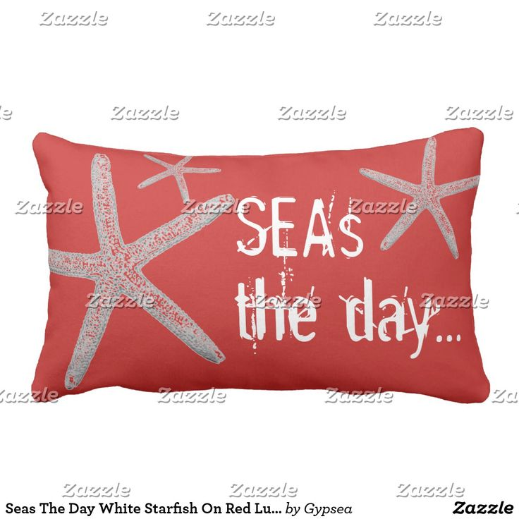 Seas The Day White Starfish On Red Lumbar Pillow comes in navy and neutral too! All pillows and poufs are 30% off today!  50% Off Bath Sets, Canvas Prints, Coasters, Magnets, Serving Trays, Wine Charms. 40% off Bath Mats, Blankets, Door Mats, Duvet Covers, Lamps, Night Lights, Mason Jars, Shower Curtains, Tablecloths, Triptych Art, Wall Decals, Wood Wall Art.