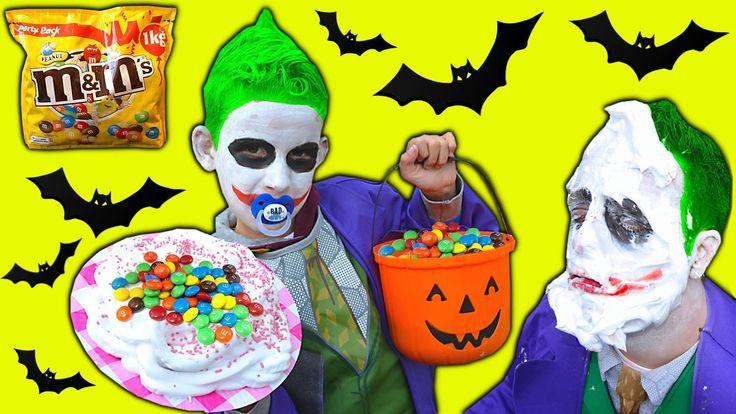 Bad Baby Joker HALLOWEEN PRANK! M&M CHALLENGE Food Fight Spidergirl Froz...