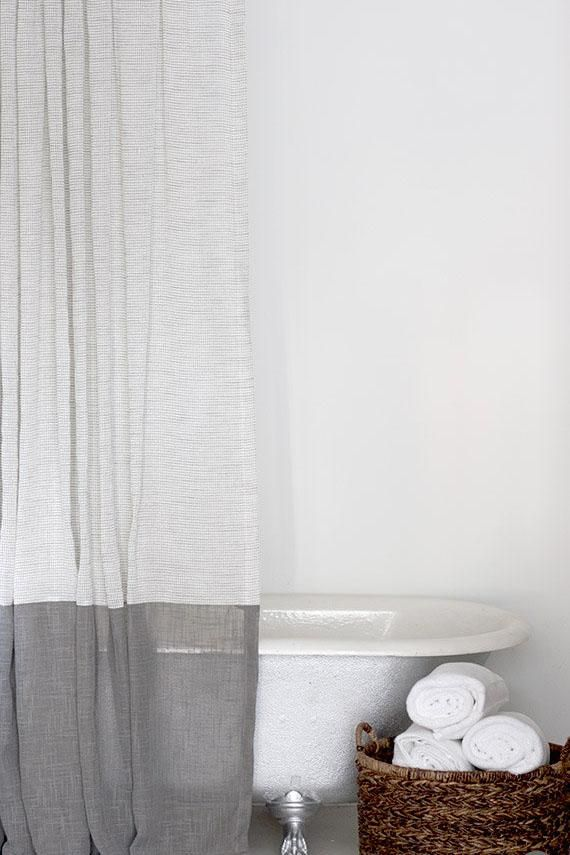 Grey And White Extra Long Fabric Shower Curtain With Large Grey Bottom Band