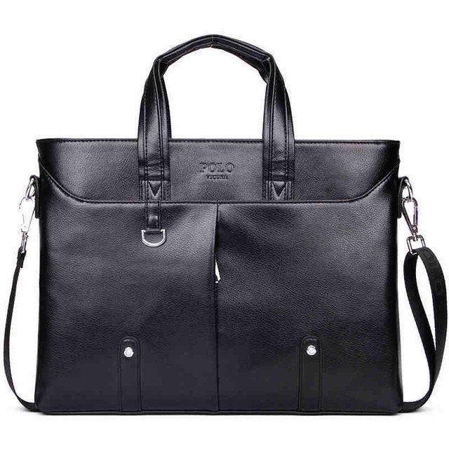 Famous Simple Men Briefcase Bag Large Business Laptop Handbag executive Bag Faux leather