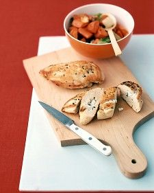Feta cheese has a rich, tangy taste. Besides adding flavor, stuffing the chicken breasts with feta helps keep them moist during cooking.