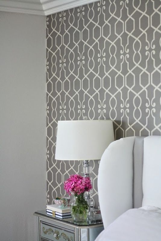I know we see this gray patterned wallpaper everywhere, but it doesn't get old for me. So chic, so elegant with a heavy dose of white.