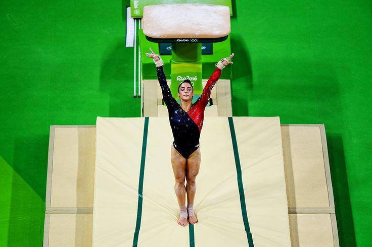 Alexandra Raisman competes on the vault qualification on Day 2