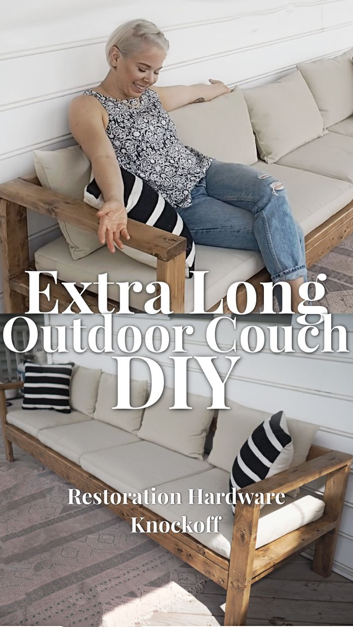 Instructions to construct your own extra long outdoor couch from 2x4s.