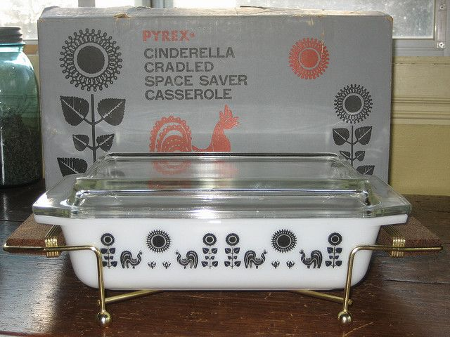 Pyrex Rooster Space Saver Casserole. The black Rooster designs are rare promotional pieces from the spring of 1958.